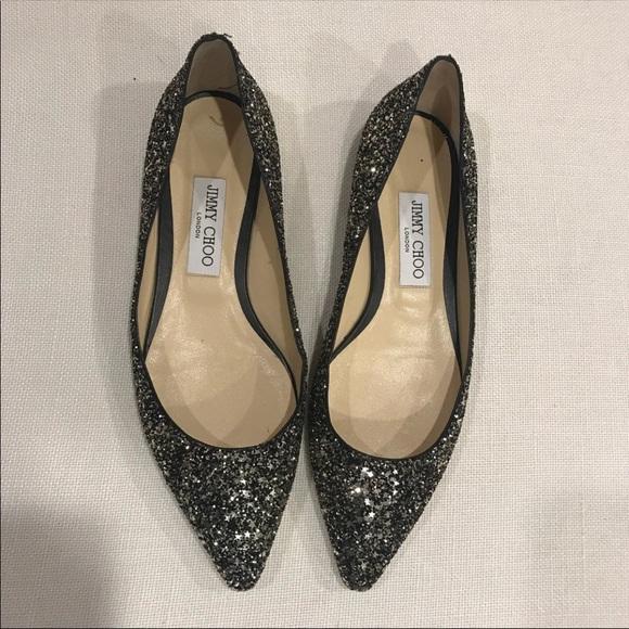 45c3e1500d6d Jimmy Choo Shoes - SALE Jimmy Choo Romy glitter flats -39 retail  650